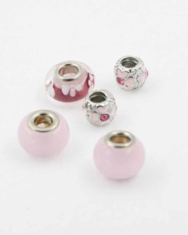 European style pink pack. Sold per pack of 5 beads
