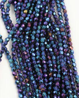 fire polished glass bead 4mm iris blue