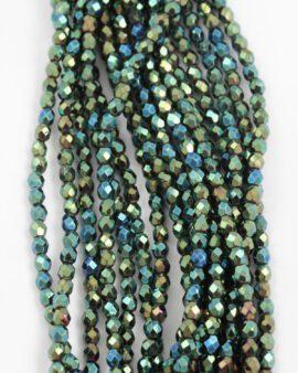 fire polished glass bead 4mm iris green