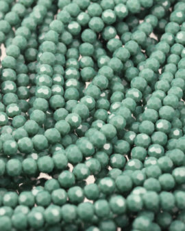 faceted round glass beads 6mm green opale