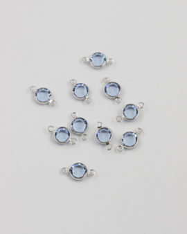 swarovski round channel SS29 2 rings light sapphire