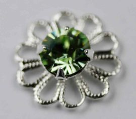 Filigree flower sterling silver plating - Sold per pack of 4 pieces (1=4 pieces)
