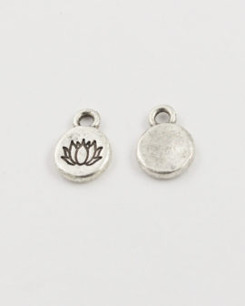 Tiny lotus charm antique silver