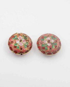Cushion shape cloisonne bead, 24x10mm. Sold individually
