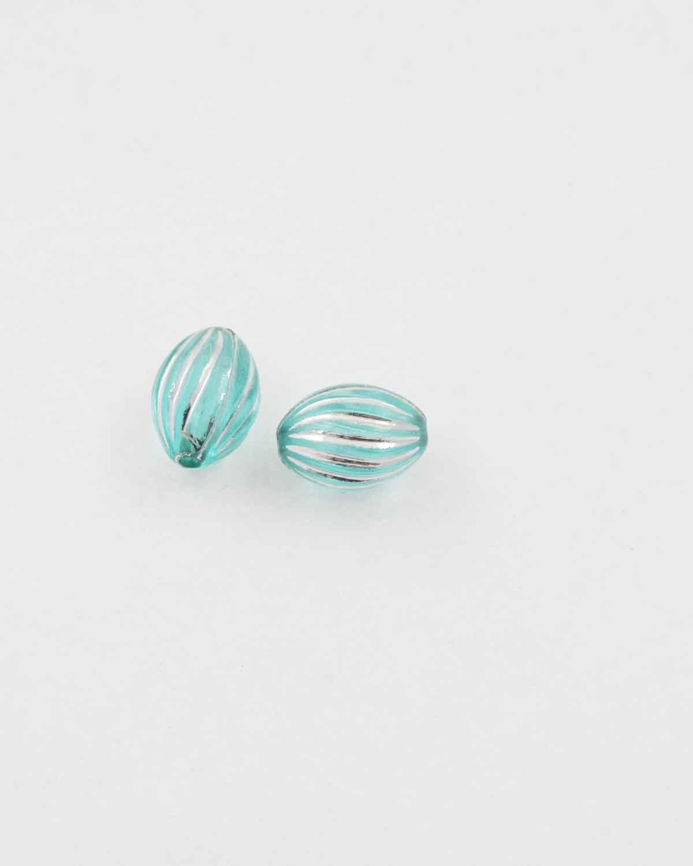 olive shape plastic bead green