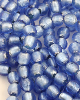 silver leaf glass bead 18mm turquoise