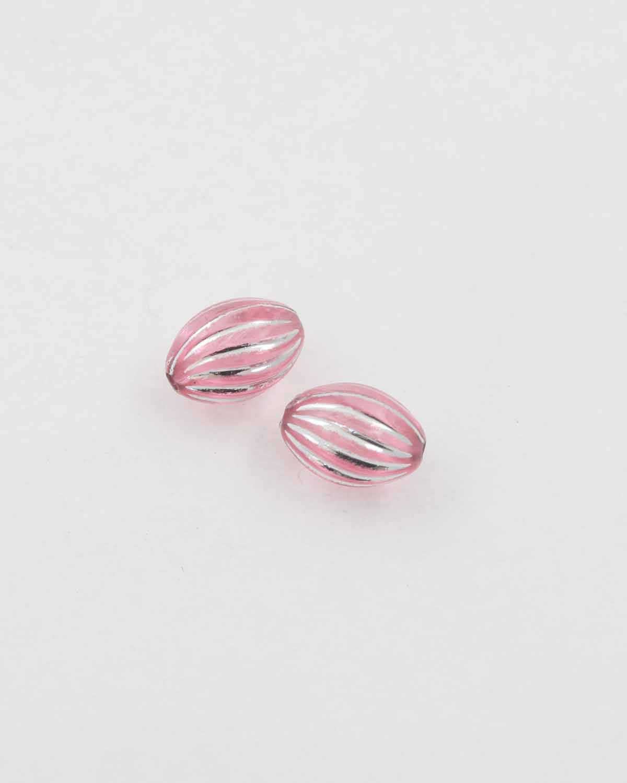 olive shape plastic bead pink