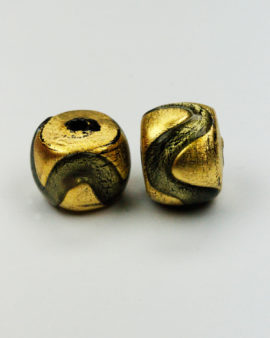 round gold leaf venetian glass bead charcoal