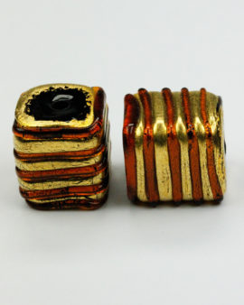 gold leaf glass venetian amber bead