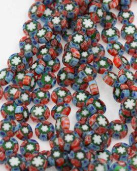 Millefiori Glass disc, 10 x 4 mm. Sold per strand approx. 42 beads