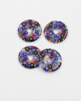 millefiori glass donut multi color