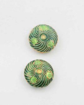 Flat round cloisonne bead green