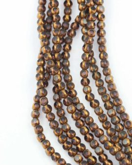 Gold Coated glass 6mm. Sold per string approx. 56 beads
