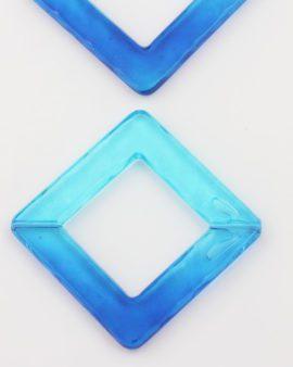 resin square bead 46x46mm aqua