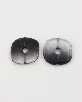 resin square donut bead black