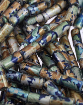 coated glass cylinder beads blue