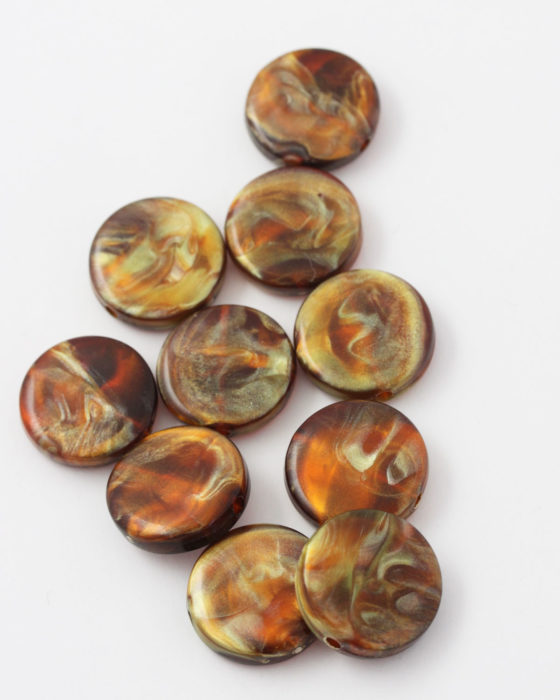 resin coin bead 20mm amber
