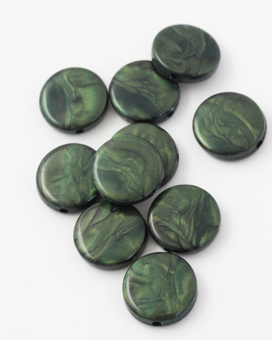resin coin bead 20mm green