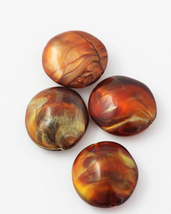 resin pod shape bead 32x28mm amber