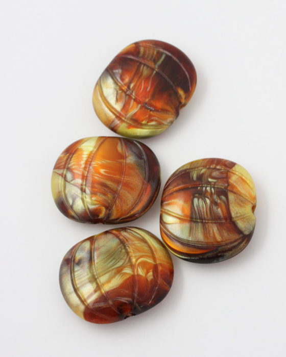 marbled resin bead 35x30mm amber