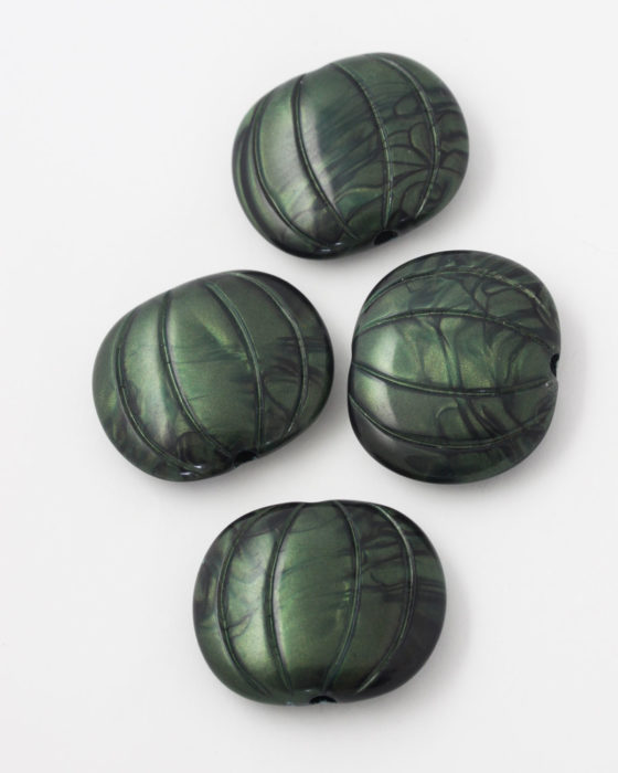 marbled resin bead 35x30mm green