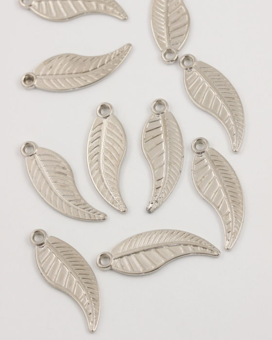 acrylic leaf charm 40x13mm antique silver