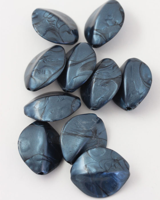 resin seed pod shabe bead 28x25mm blue