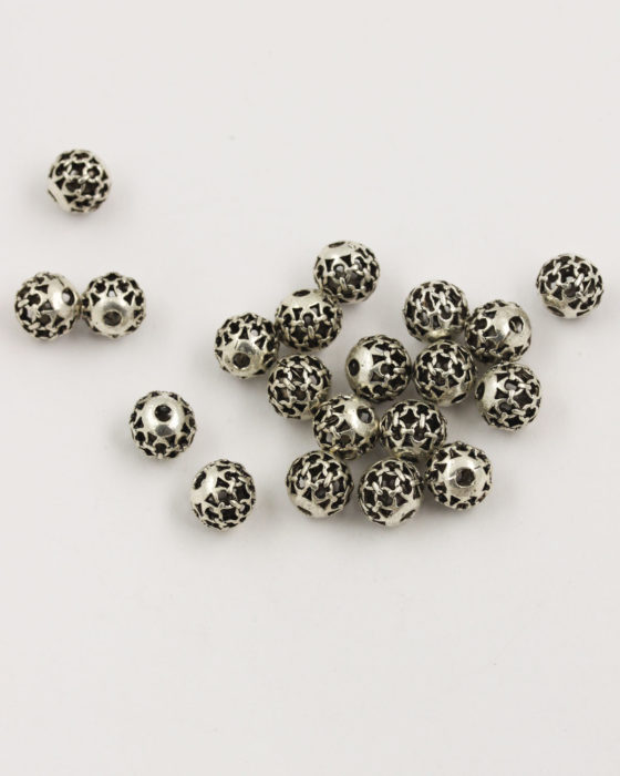 hollow beads chain design 8mm antique silver