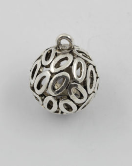 metal o ball pendant antique silver