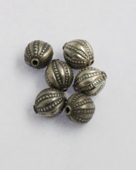 creased olive silver beads