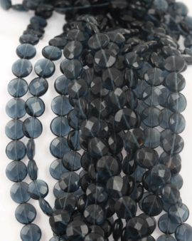 Round flat faceted beads, 4x10 mm. Sold per strand, approx.39 beads