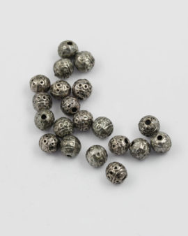 Round metal bead 8mm antique silver