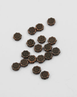 Flat lotus metal bead antique copper