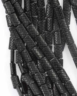 Flat textured rectangle bead black