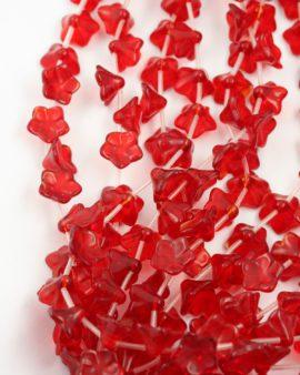 glass flower pendant red