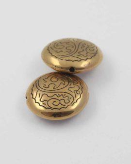 Flat Round acrylic plated bead gold NZ