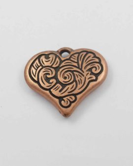 Heart pendant acrylic plated 30mm. Sold per pack of 10