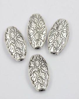flat oval acrylic plated bead silver