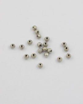 Sand jet round metal bead 4mm antique silver