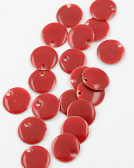 round enamelled charm 15mm red