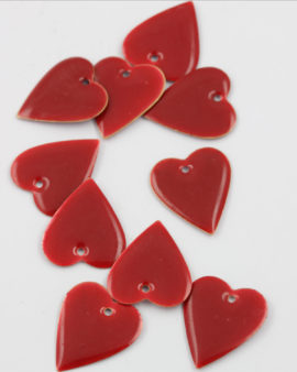 Heart enamelled charm 25mm red