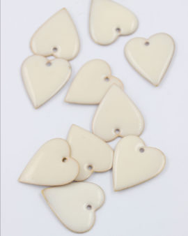 Heart enamelled charm 25mm white