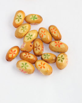 oval wooden bead yellow