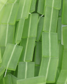 rectangle frosted resin bead 43x25mm lime green