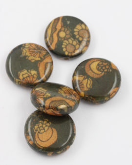 coin shape wooden bead green brown
