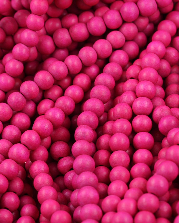 wooden beads 8mm hot pink