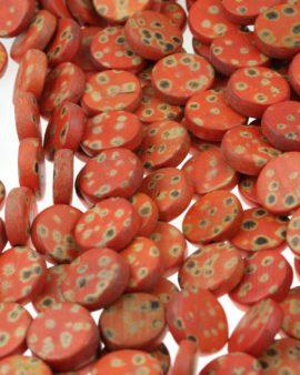 wooden coin beads orange