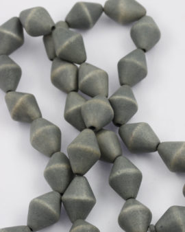 wooden bicone beads grey
