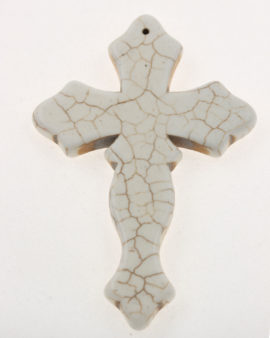 howlite cross pendant white