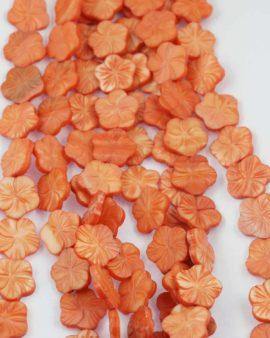 Mother of Pearl flower bead orange
